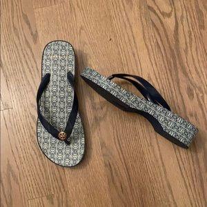 Shoes Tor Burch navy jacquard sandals